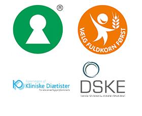 Billedramme for Fuldkorns mærket, Nøglehullet, Danske Klinisk Diætister, Kliniske Diætister Danmark